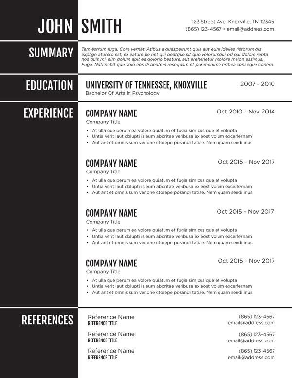 Monochrome Resume Template 1