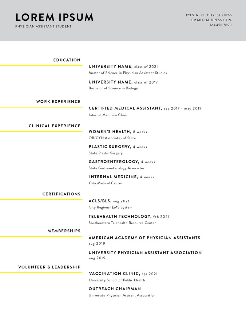 Yellow Touch Resume Template